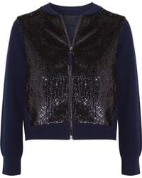 J.Crew | Sequined Tulle And Wool Bomber Jacket | Lyst