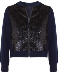 J.Crew - Sequined Tulle And Wool Bomber Jacket - Lyst
