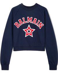 Balmain - Cropped Appliquéd Cotton-jersey Sweatshirt - Lyst