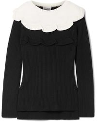 RED Valentino - Ruffled Two-tone Cotton Sweater - Lyst
