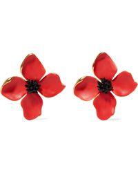 Oscar de la Renta - Painted Flower Button Gold-tone And Resin Clip Earrings - Lyst