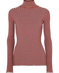 Victoria, Victoria Beckham - Striped Ribbed-knit Turtleneck Sweater - Lyst
