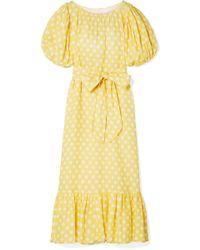 Lisa Marie Fernandez - Belted Polka-dot Linen Maxi Dress - Lyst