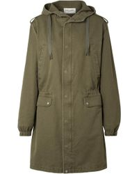 Saint Laurent - Hooded Cotton Blend-gabardine Parka - Lyst