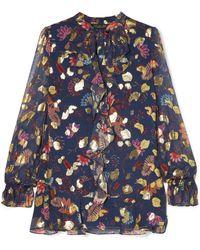 Rachel Zoe - Lux Ruffled Floral-print Fil Coupé Chiffon Blouse - Lyst