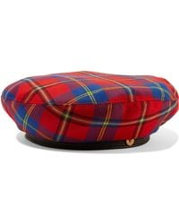 Versace - Red And Blue Check Wool Hat - Lyst