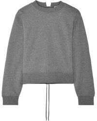 T By Alexander Wang - Tie-back Cropped French Cotton-terry Sweatshirt - Lyst