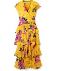 Etro - Ruffled Floral-print Silk Crepe De Chine Midi Dress - Lyst