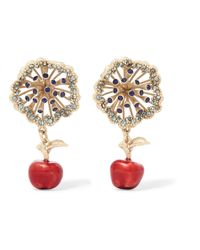Valentino - Garavani Gold-tone, Crystal And Enamel Earrings - Lyst