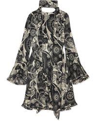 Chloé - Printed Cotton And Silk-blend Crepon Mini Dress - Lyst