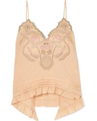 Chloé - Embroidered Cotton-voile Camisole - Lyst