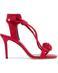 Isabel Marant | Ablee Metallic Cracked-leather Sandals | Lyst