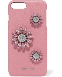 Miu Miu - Crystal-embellished Textured-leather Iphone 8 Plus Case - Lyst