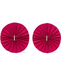 Katerina Makriyianni - Round Red Gold-tone, Silk And Crystal Earrings - Lyst