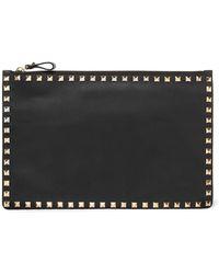 Valentino - Garavani The Rockstud Textured-leather Pouch - Lyst