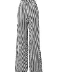 MDS Stripes - Pia Striped Cotton-jersey Wide-leg Pants - Lyst