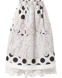 Comme des Garçons - Ruffle-trimmed Printed Cotton-canvas Midi Skirt - Lyst