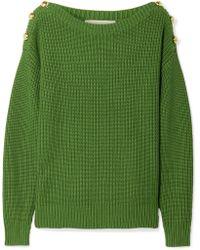 MICHAEL Michael Kors - Button-embellished Ribbed Cotton-blend Jumper - Lyst