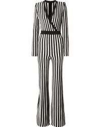 Balmain - Wrap-effect Striped Stretch-knit Jumpsuit - Lyst