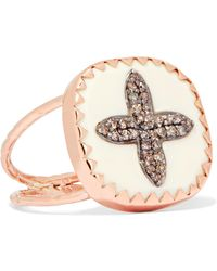 Pascale Monvoisin - Bowie N°2 9-karat Rose Gold, Sterling Silver, Diamond And Bakelite Ring - Lyst