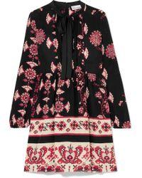 RED Valentino - Pussy-bow Floral-print Silk Mini Dress - Lyst
