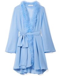 Rosamosario - Peter Pan Feather-trimmed Crystal-embellished Silk-georgette Robe - Lyst