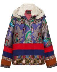 Etro - Oversized Shearling-trimmed Jacquard And Wool-felt Jacket - Lyst