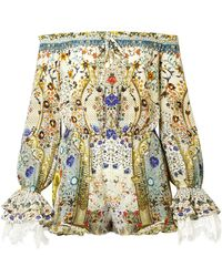 Camilla - The Long Way Home Embellished Printed Silk Crepe De Chine Playsuit - Lyst