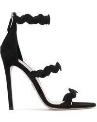 Prada - Scalloped Suede Sandals - Lyst
