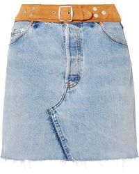 RE/DONE - Belted Denim And Suede Mini Skirt - Lyst