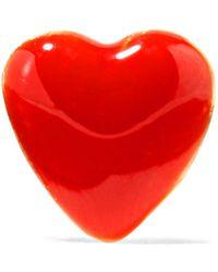 Alison Lou - Tiny Heart Enamelled 14-karat Gold Earring - Lyst