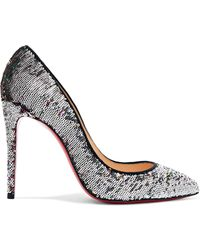 Christian Louboutin - Pigalle Follies 100 Sequined Canvas Court Shoes - Lyst