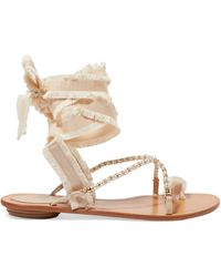 Rene Caovilla   Elizabella Lace-up Embellished Leather And Grosgrain Sandals   Lyst