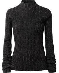 Theory - Metallic Ribbed Merino Wool-blend Turtleneck Jumper - Lyst