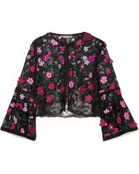 Lela Rose - Cropped Appliquéd Embroidered Lace Jacket - Lyst