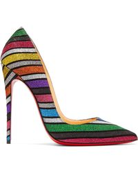 ee724909eef8 Christian Louboutin - So Kate 120 Striped Glittered Suede Court Shoes - Lyst
