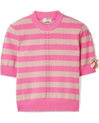 Fendi - Lace-up Striped Pointelle-knit Top - Lyst