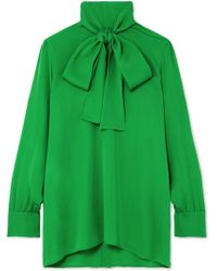 Gucci - Pussy-bow Silk-georgette Blouse - Lyst