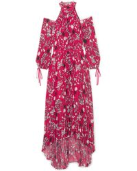 Self-Portrait - Cold-shoulder Pleated Printed Chiffon Maxi Dress - Lyst
