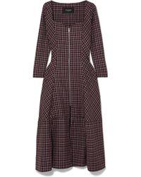 Paper London - Lotus Checked Wool-blend Crepe Midi Dress - Lyst