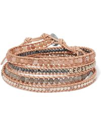 Chan Luu - Leather And Gunmetal-plated Multi-stone Wrap Bracelet - Lyst