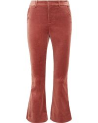 FRAME - Cropped Cotton-blend Velvet Flared Trousers - Lyst