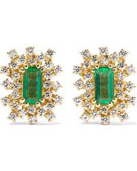 Suzanne Kalan - 18-karat Gold, Emerald And Diamond Earrings - Lyst