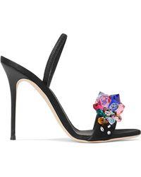 Giuseppe Zanotti - Mistico Crystal-embellished Satin Slingback Sandals - Lyst
