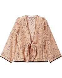 IRO | Jarley Tie-front Printed Silk Crepe De Chine Blouse | Lyst