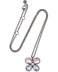 Larkspur & Hawk - Sadie Butterfly Rhodium-dipped Quartz Necklace - Lyst