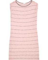 Splendid - Striped Stretch Cotton And Modal-blend Mini Dress - Lyst