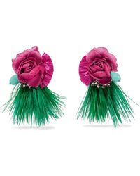 Ranjana Khan - Tijuca Gold-tone, Feather, Raffia And Crystal Clip Earrings - Lyst