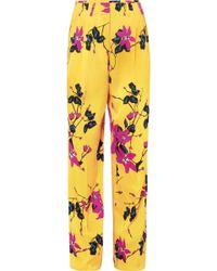 Etro - Floral-print Crepe Wide-leg Pants - Lyst