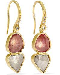 Brooke Gregson - Double Orbit 18-karat Gold, Diamond And Sapphire Earrings - Lyst